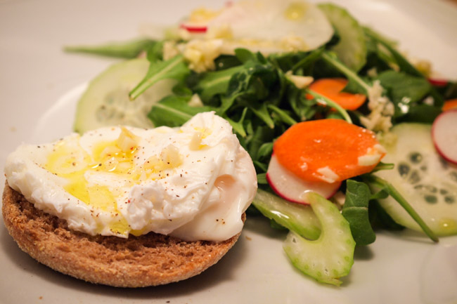 Garlicky Arugula and Shaved Vegetable Salad with Poached Egg - The Clean Gourmet