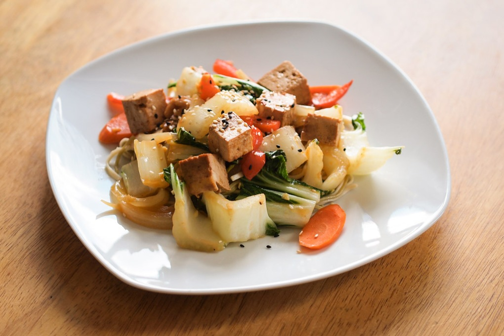 Mustard-Orange Sprouted Tofu Stir Fry with Green Tea Noodles - The Clean Gourmet
