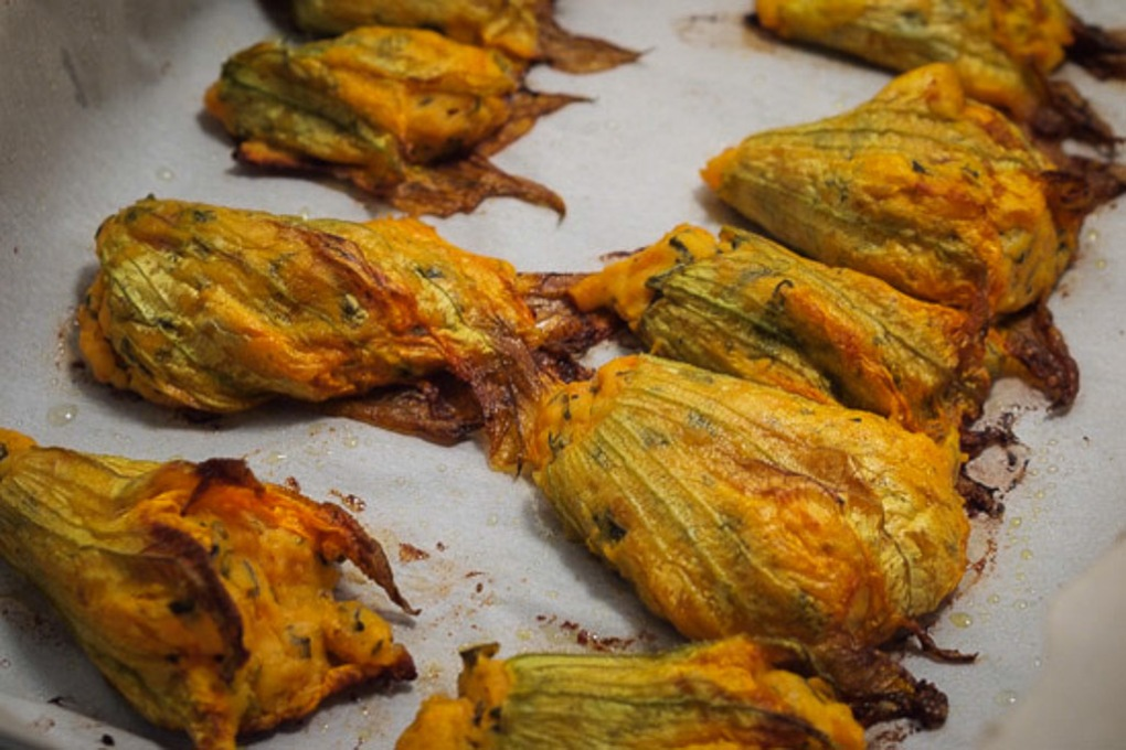 Herbed Goat Cheese and Sweet Potato-Stuffed Zucchini Blossoms - The Clean Gourmet