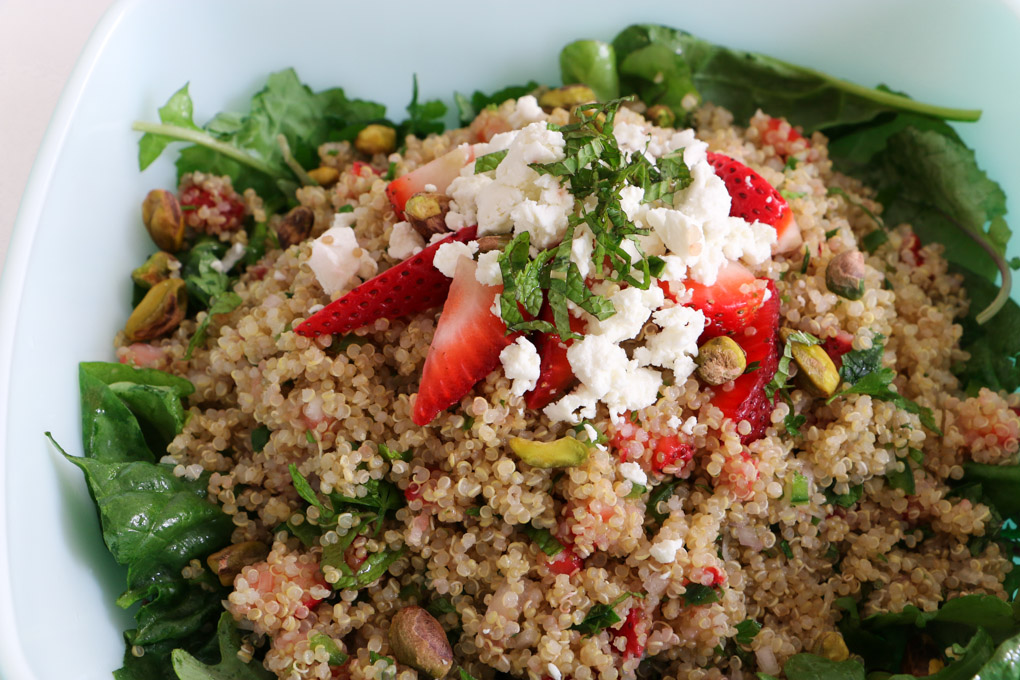 Quinoa Pilaf with Strawberries, Jalapeño and Mint - The Clean Gourmet