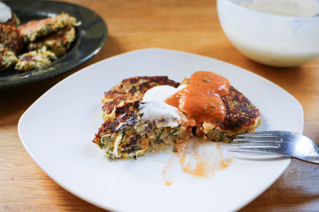 Herbed Zucchini Cakes with Minted Sheep's Milk Yogurt Dipping Sauce - The Clean Gourmet
